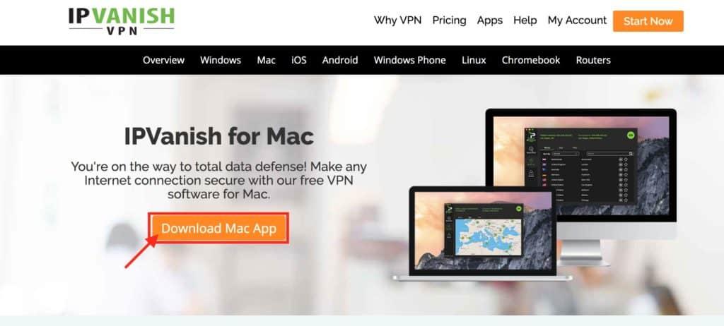 Install a vpn on Mac OS IPVanish landing page