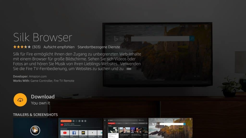how to surf the web on a fire tv silk browser download