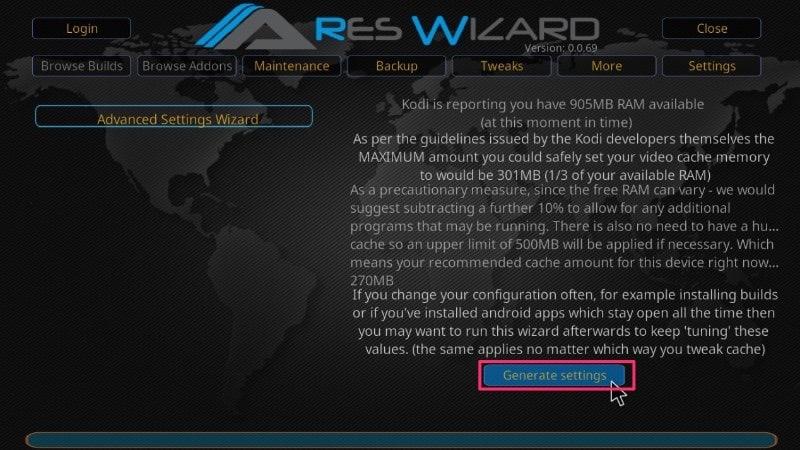 ares wizard generate settings buffering
