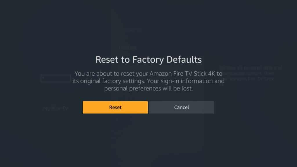 reset firestick to factory defaults