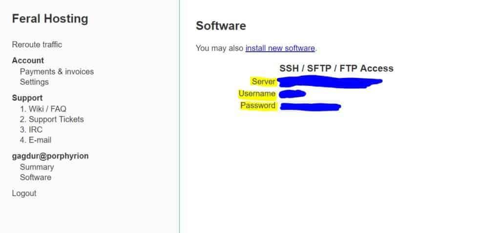 feral hosting software