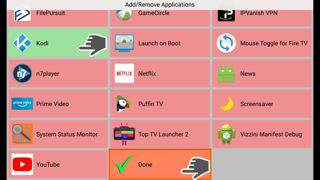 done checkmark top tv launcher
