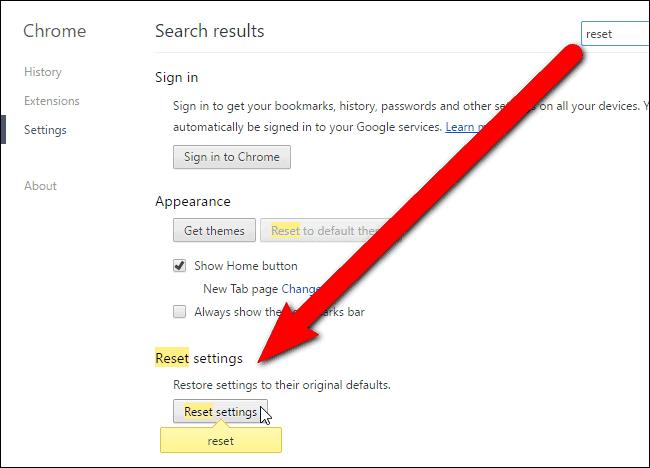 chrome default settings