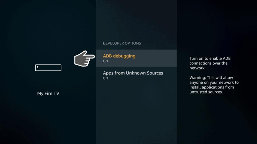 turn on ADB debugging