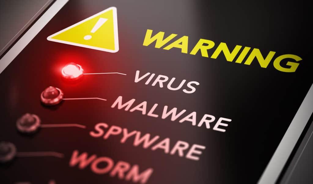 Red light indicating virus warning