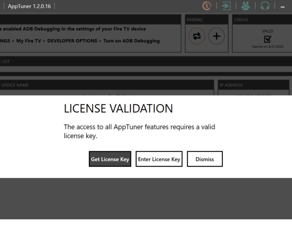 License Validation of AppTuner