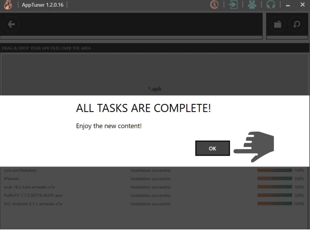 all tasks completed on Apptuner