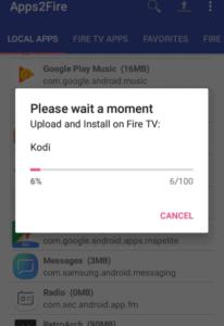 installing Kodi from Apps2Fire to Firestick