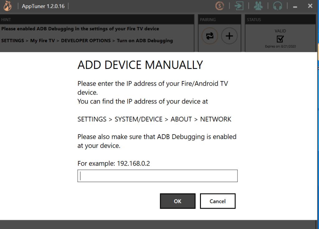 Add Firestick IP manually on AppTuner