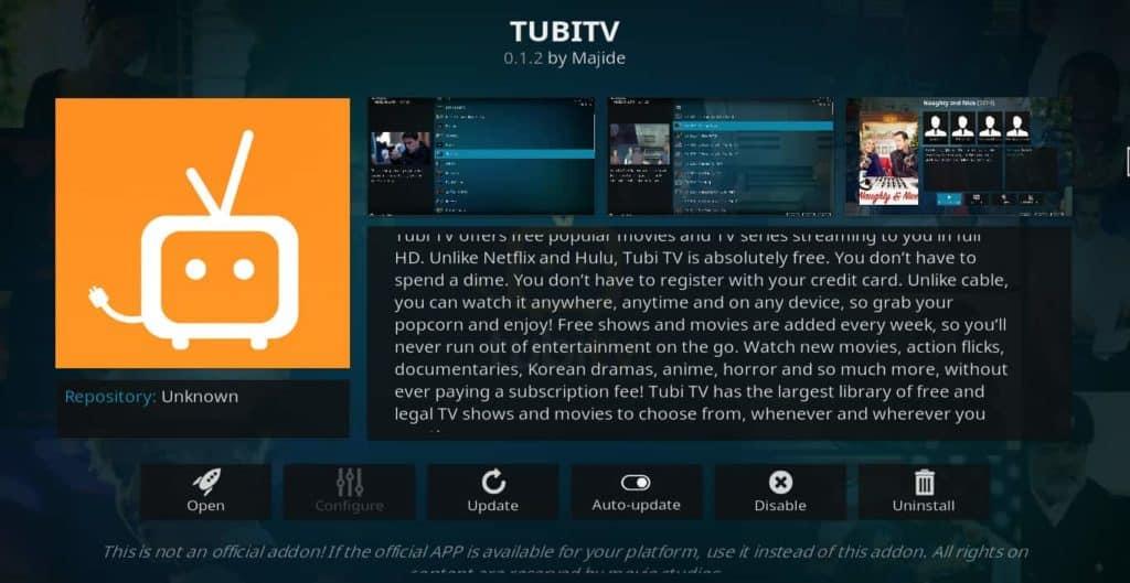 Tubi TV addon