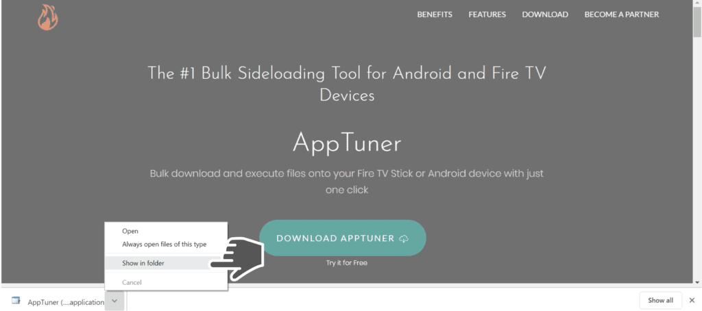 show AppTunner file in folder