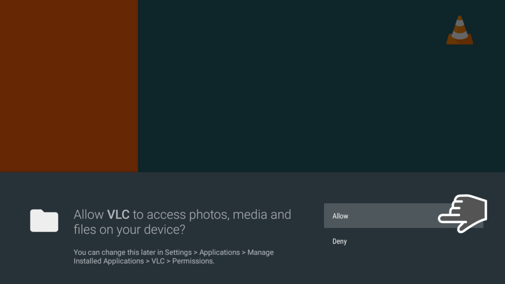 allow vlc to access media on your device