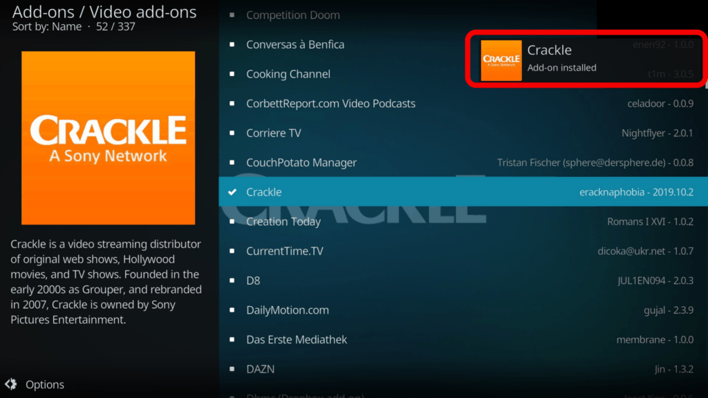 crackle add-on installed