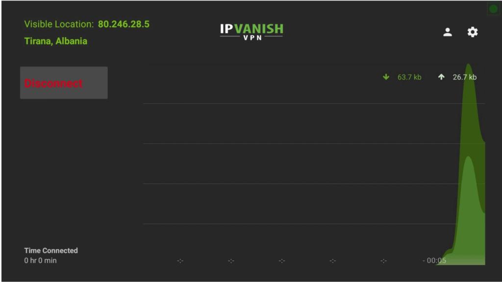 IPVanish VPN Connected