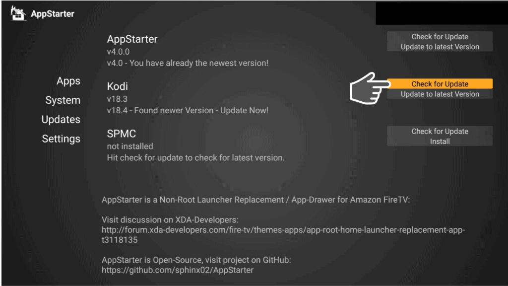 Check for Update of Kodi with AppStarter