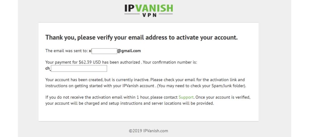 IPVanish activate account