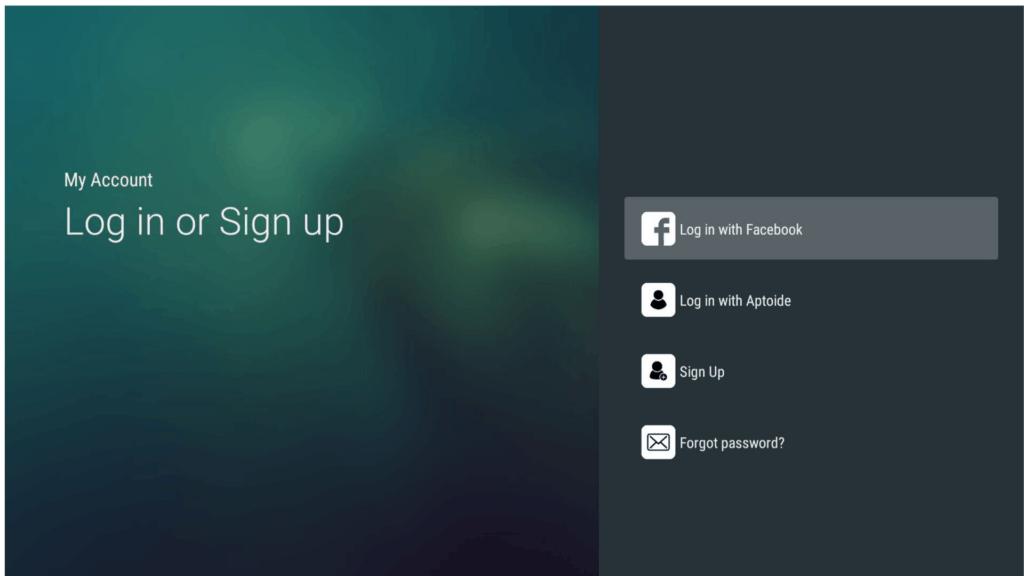 Log in or Sign up on Aptoide TV