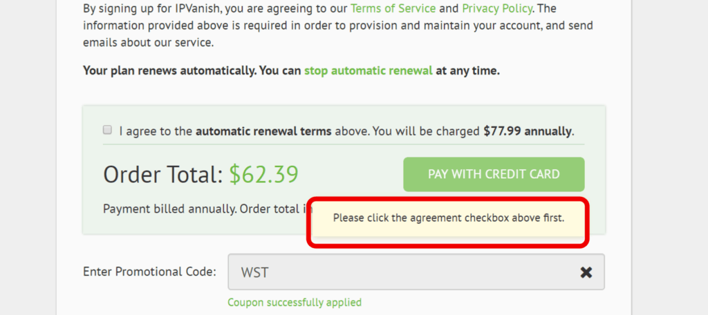 Click the agreement checkbox