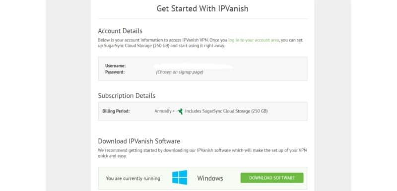 ipvanish account details