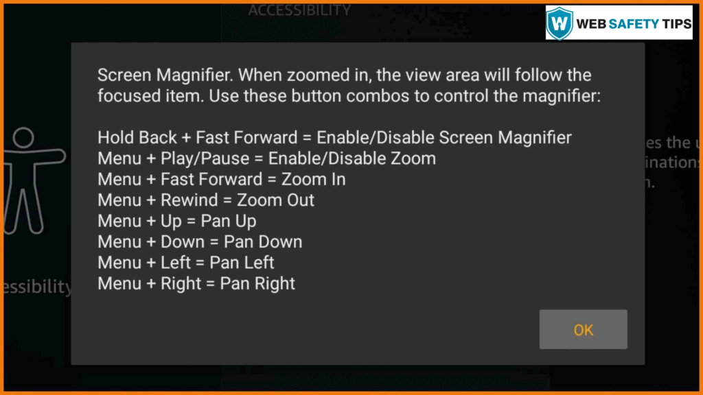 Amazon Firestick Zoomed In Screen Magnifier Dialog