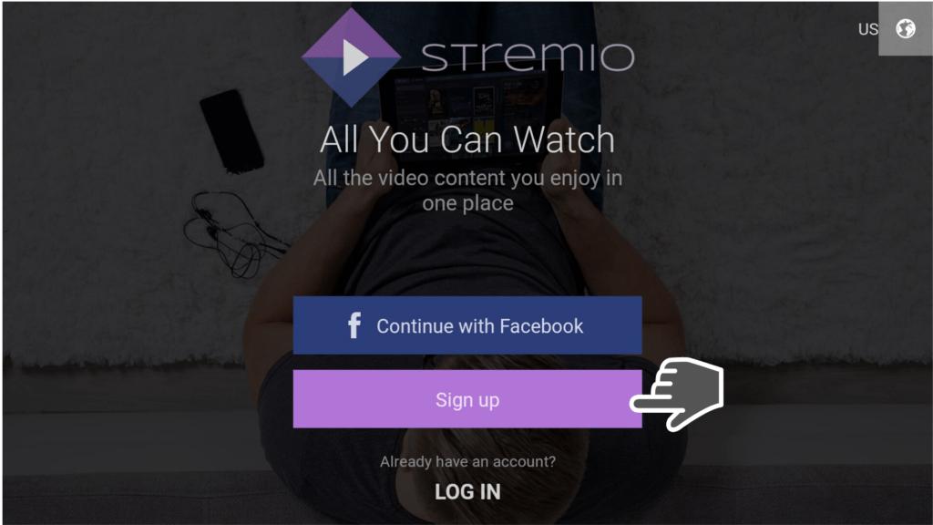 Sign up on Stremio