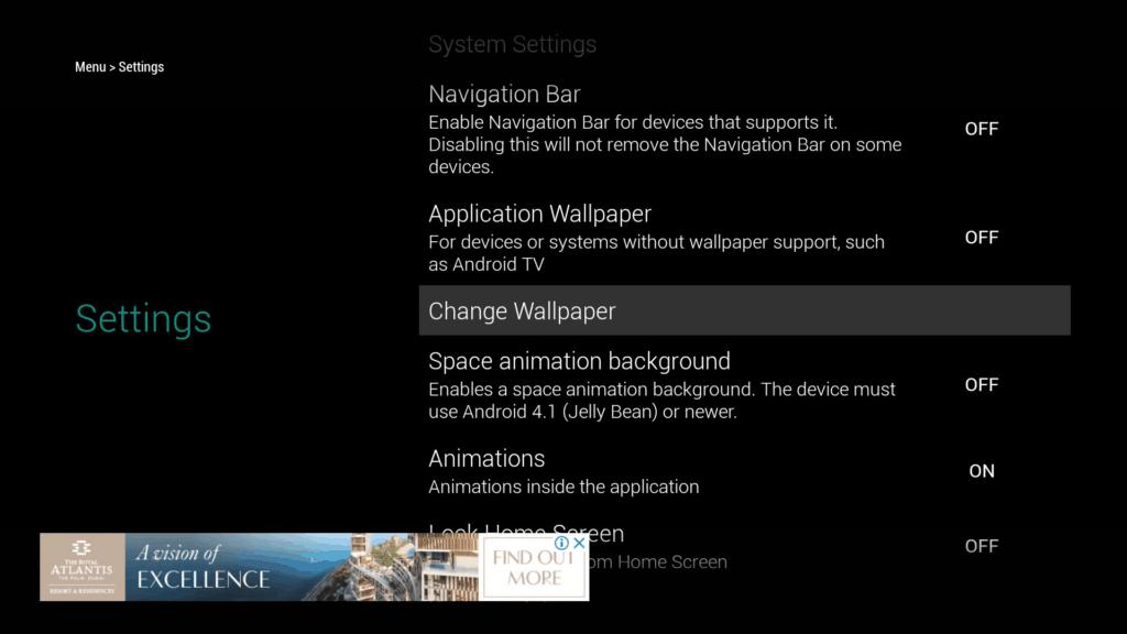 TVLauncher settings