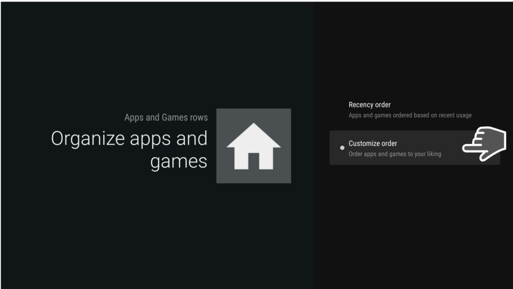 Leanback organize apps and games
