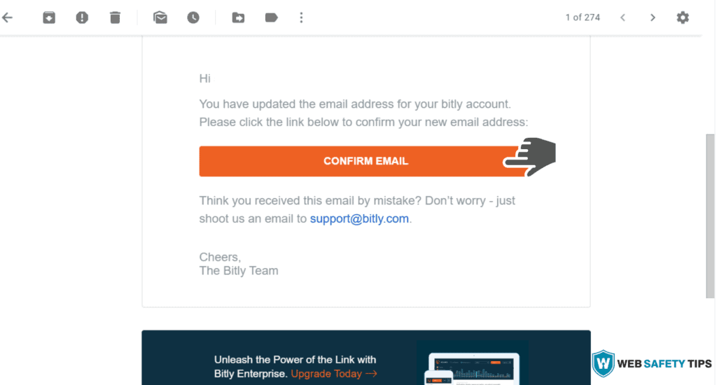 Confirm Email for Bitly account