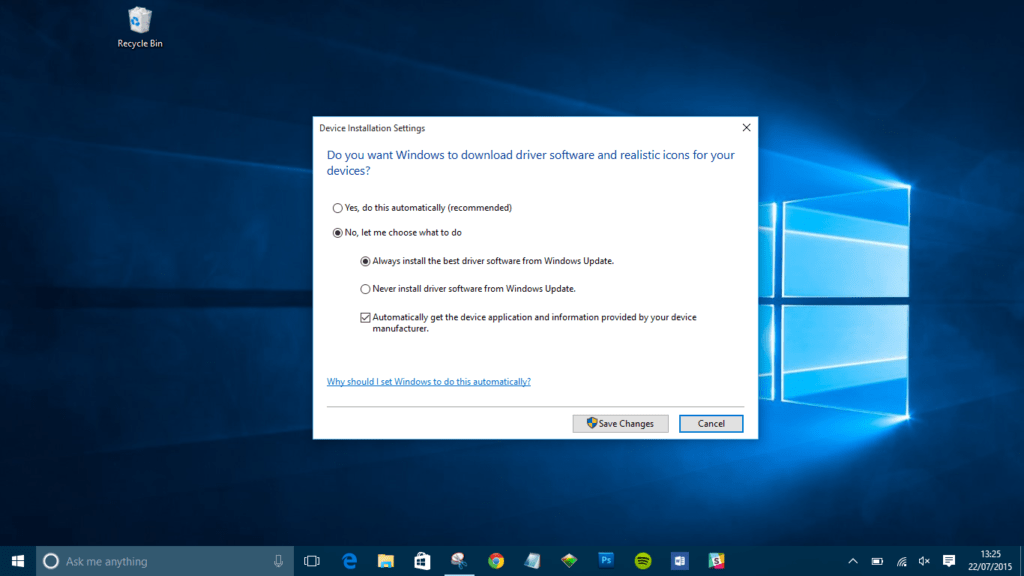 never install driver software