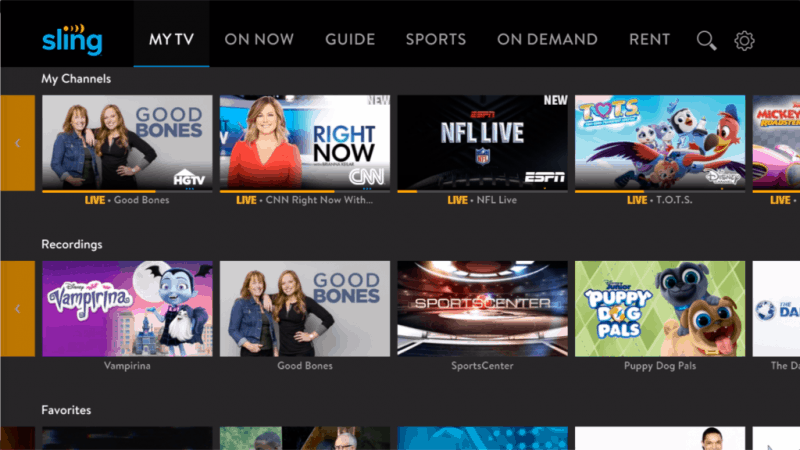 sling tv interface