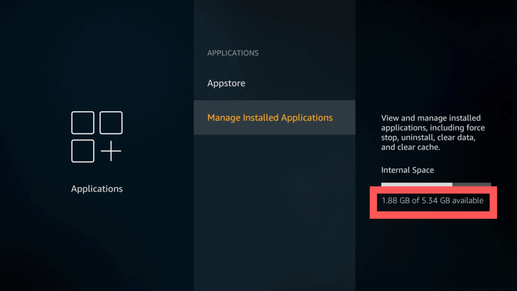 Manage Installed Applications - internal space