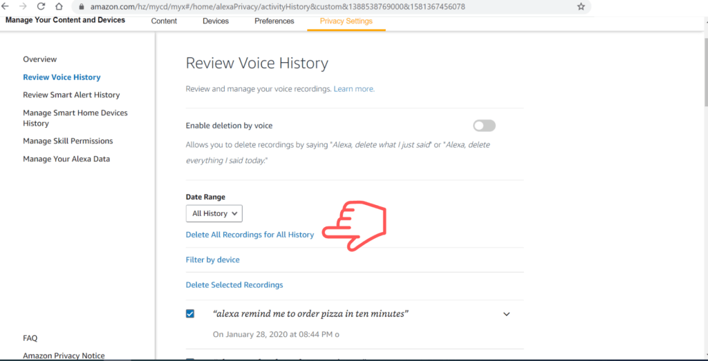 delete all Alexa recording for all history