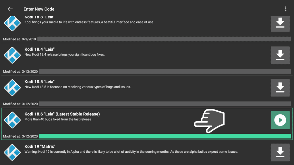 download Kodi 18.6 via wst Filelinked store