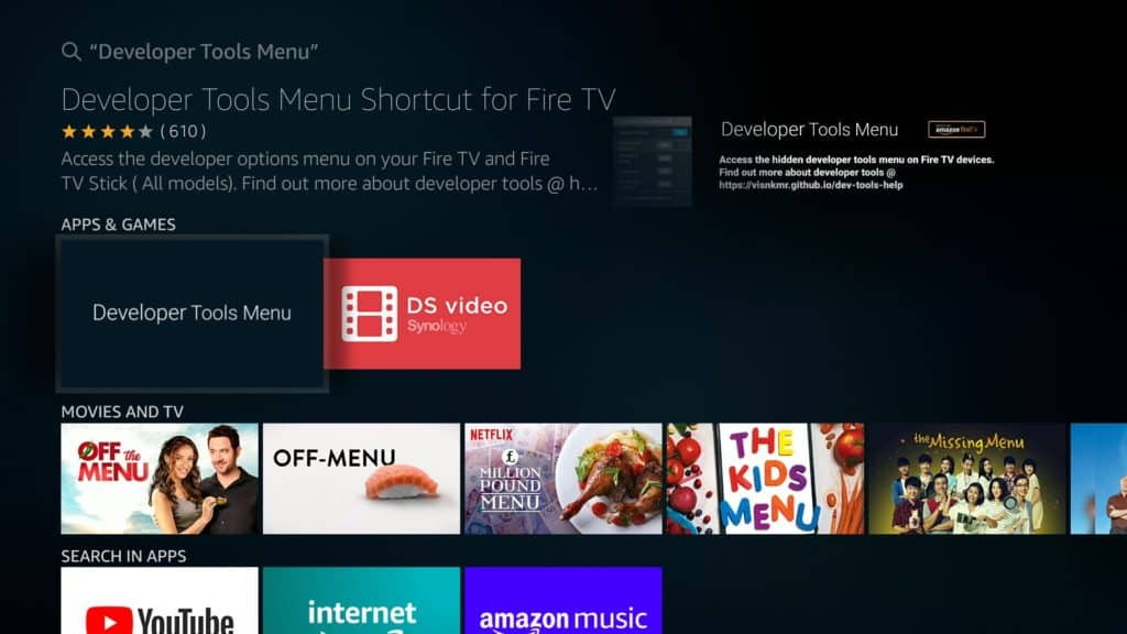 Install Developer Tool Menu Shortcut for Fire TV