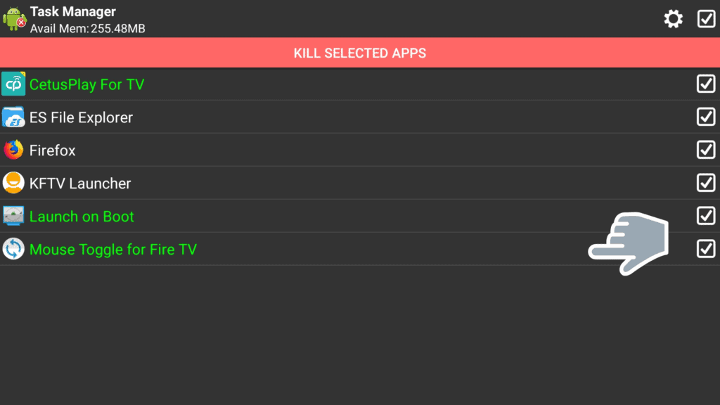 kill selected apps on Task Killer