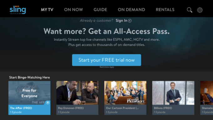 Sling TV Free Content