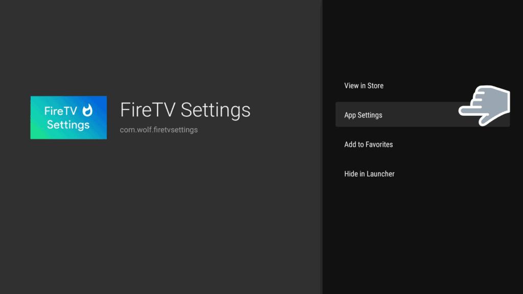App settings in Fire tv settings on leanback launcher