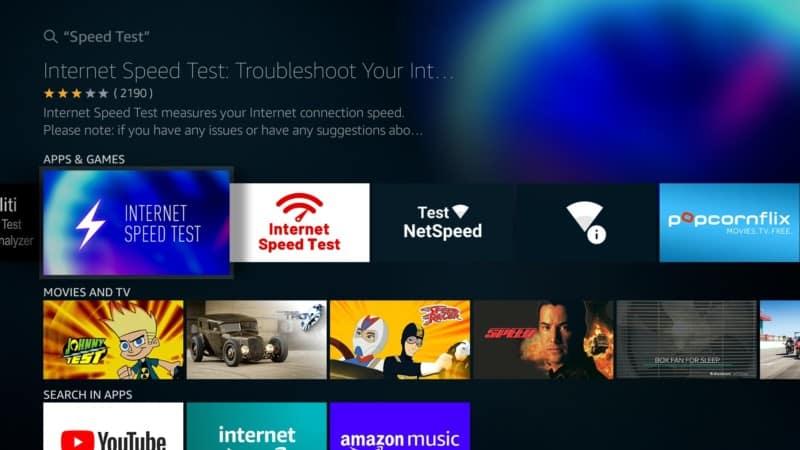 Internet Speed Test App on Firestick