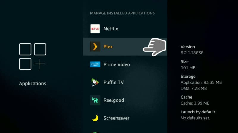 PLEX on Manage Installed Applications