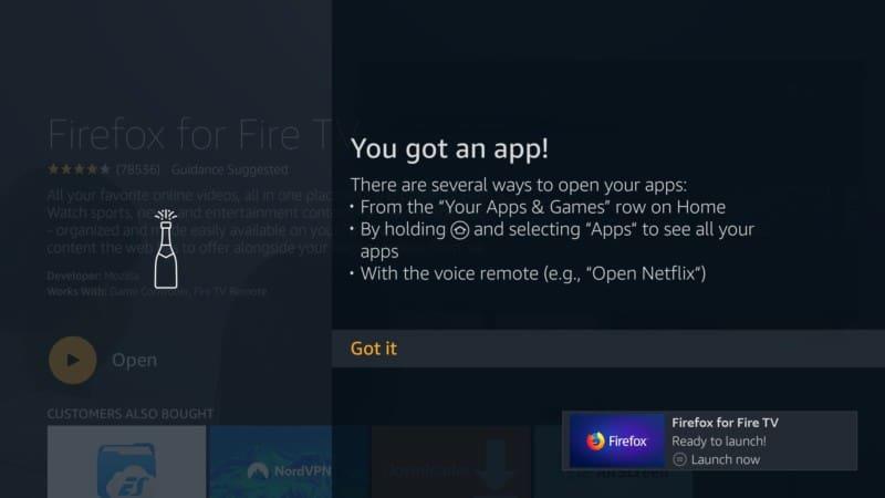 open FIREFOX App