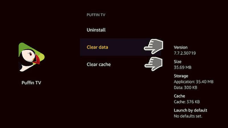 clear cache and data Firestick