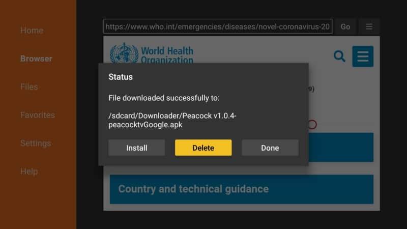 delete Peacock TV file