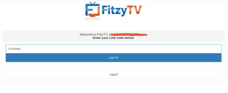 FitzyTV code on desktop