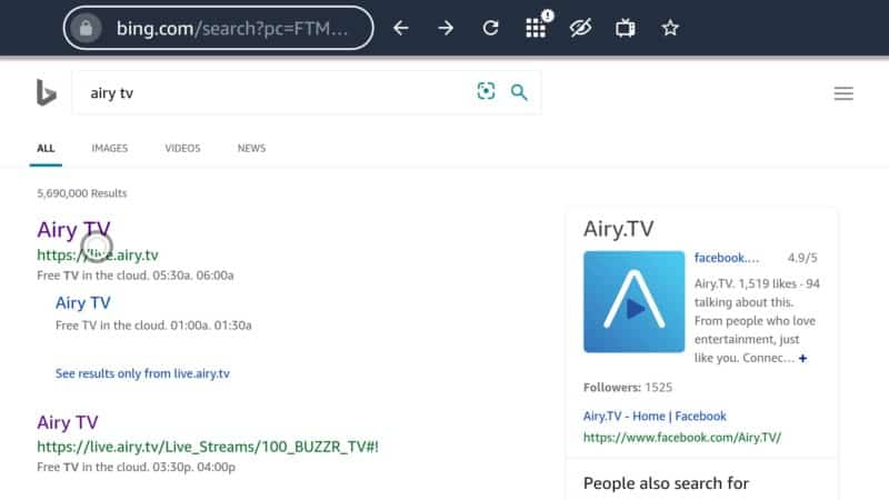 airy tv links on Silk Browser
