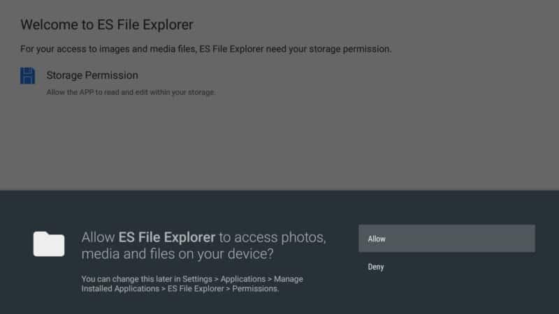 allow es file explorer