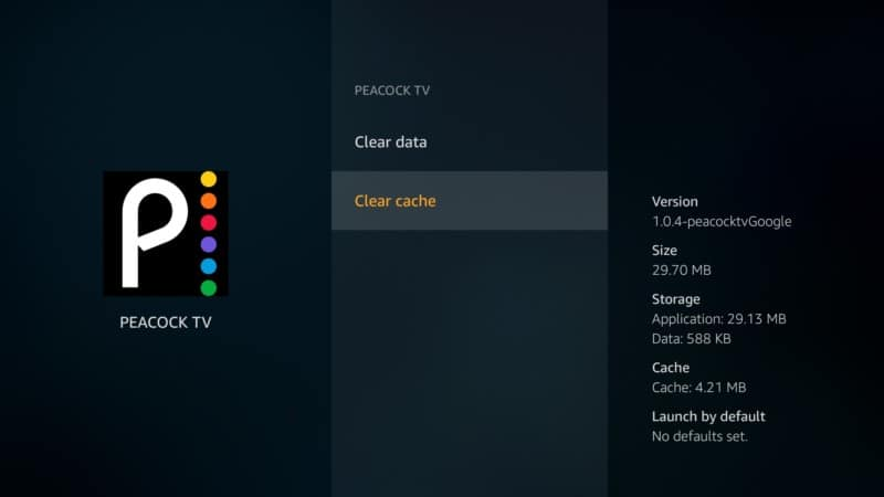 clear cache Peacock tv