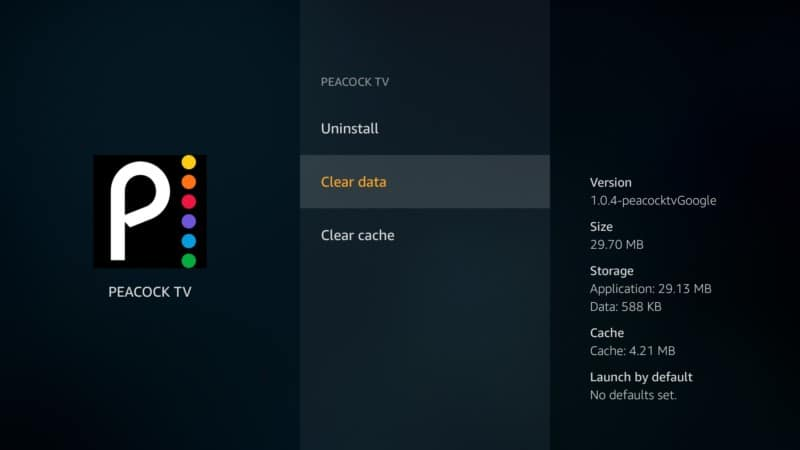 clear data peacock tv