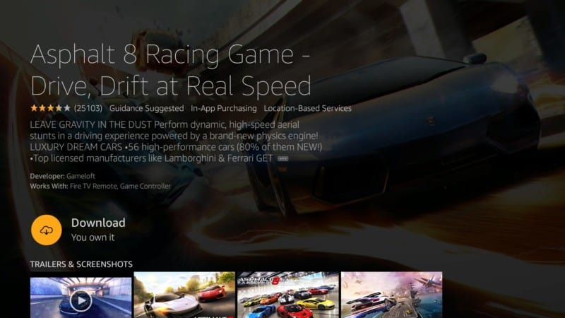 asphalt 8 racing game firestick