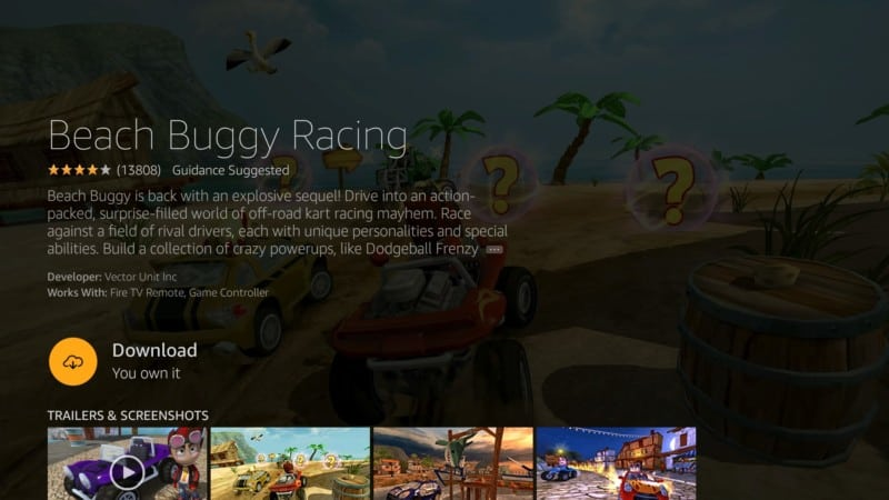 beach buggy racing free firestick game