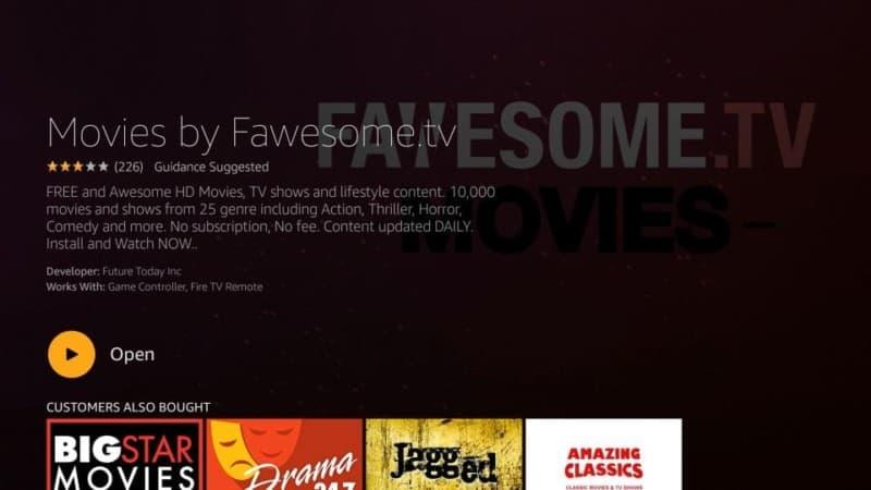 open fawsome.tv on firestick